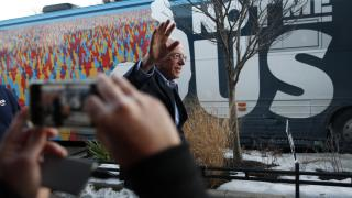 Democratic presidential candidate Sen. Bernie Sanders, I-Vt., waves as he leaves after speaking at a Super Bowl watch party campaign event, Sunday, Feb. 2, 2020, in Des Moines, Iowa. (AP Photo / John Locher)