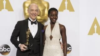 J.K. Simmons and Lupita Nyong'o pose for a photo at the 87th Academy Awards on Feb. 22, 2015. (Disney | ABC Television Group / Flickr)