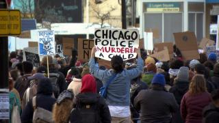 Protesters gather in Logan Square on April 16, 2021 to denounce the police killing of 13-year-old Adam Toledo. (WTTW News)