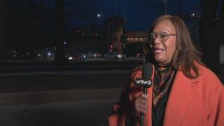 "Ald. Leslie Hairston speaks with Paris Schutz on ""Chicago Tonight."" (WTTW News)"