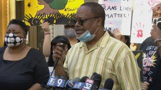 Ald. Roderick Sawyer (6th Ward) speaks about the Police Free Schools Ordinance on Tuesday, June 16, 2020. (WTTW News)
