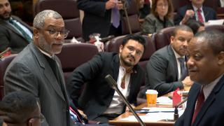 Ald. Walter Burnett, left, speaks during a City Council meeting on Wednesday, Dec. 18, 2019. (WTTW News)