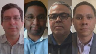 "From left: Chicago Alds. Scott Waguespack, Jason Ervin, Gilbert Villegas and Matt Martin appear on ""Chicago Tonight"" via Zoom on Thursday, April 30, 2020. (WTTW News)"