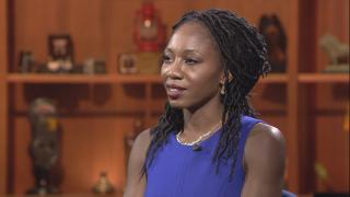"Amara Enyia appears on ""Chicago Tonight"" on Aug. 30, 2018."