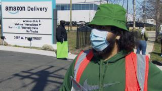 Amazon employee Bekim Mehmedi speaks with WTTW News during a demonstration at facility in Gage Park on Thursday, April 1, 2021.