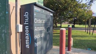 An Amazon locker at Leone Beach in Rogers Park. (WTTW News)