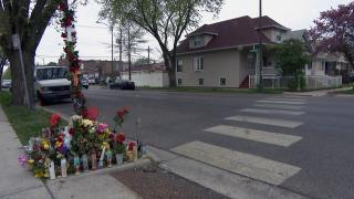 A memorial for Anthony Alvarez, the 22-year-old fatally shot by a Chicago police officer in Portage Park on March 31, 2021, is seen on April 28, the day police body camera video was released of the shooting. (WTTW News)