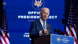 President-elect Joe Biden speaks in The Queen theater, Tuesday, Nov. 10, 2020, in Wilmington, Del. (AP Photo / Carolyn Kaster)