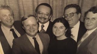"The original ""Inside Politics"" team, 1980. From left: Sheldon Gardner, Bruce DuMont, Ald. Clifford Kelley, Marilyn D. Clancy, Tom Roeser and Phil Krone. (Courtesy Bruce DuMont)"