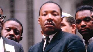 Martin Luther King Jr. photograph by Bernard Kleina. (Courtesy of the Elmhurst Art Museum)