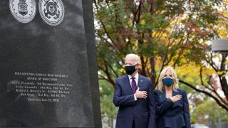 President-elect Joe Biden and Jill Biden, attend a service at the Philadelphia Korean War Memorial at Penn's Landing on Veterans Day, Wednesday, Nov. 11, 2020, in Philadelphia. (AP Photo / Alex Brandon)