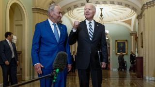 President Joe Biden joins Senate Majority Leader Chuck Schumer, D-N.Y., and fellow Democrats at the Capitol in Washington, Wednesday, July 14, 2021, to discuss the latest progress on his infrastructure agenda. (AP Photo / Andrew Harnik)