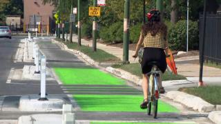 The city's transportation department has been installing a new grid of bike routes in Belmont Cragin and Hermosa. (WTTW News)