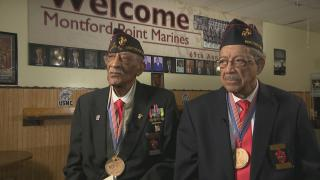 James A. Reynolds, left, and John Vanoy joined the U.S. Marine Corps in 1943, becoming among the first African Americans in the previously white-only military branch.