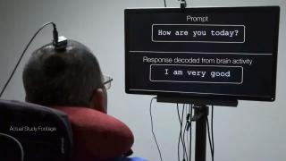 Researchers have developed technology that enabled a man unable to speak because of paralysis to communicate by translating his brain waves into text on a computer screen. (Courtesy of UC San Francisco)