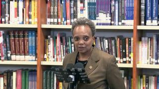 Mayor Lori Lightfoot and CPS CEO Janice Jackson addressed students returning to Walter Payton College Prep for the first time in 13 months, April 20, 2021. (WTTW News via NBC)