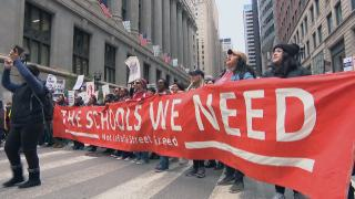 The Chicago Teachers Union and SEIU Local 73 hold a massive demonstration in the Loop on Wednesday, Oct. 23, 2019 -- day five of the Chicago teachers strike. (WTTW News)