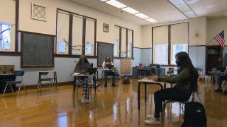 Students sit masked and socially distanced in a CPS classroom. (WTTW News)