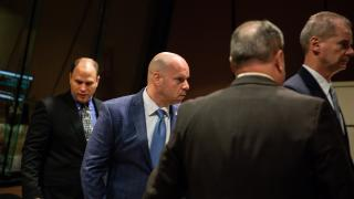 Chicago police Officer Thomas Gaffney, left, ex-Officer Joseph Walsh and their attorneys approach the bench in a post-trial hearing at the Leighton Criminal Court Building on Wednesday, Dec. 19, 2018. (Zbigniew Bzdak / Chicago Tribune / Pool)