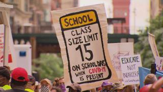 Demonstrators march in Chicago on Wednesday, June 24, 2020 to show their support for removing police officers from schools. (WTTW News)