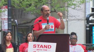 Chicago Teachers Union members hold a rally in the Loop on Wednesday, May 22, 2019. (WTTW News)