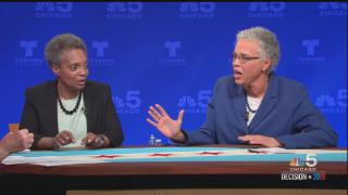 Mayoral candidates Lori Lightfoot, left, and Cook County Board President Toni Preckwinkle participate in a televised forum on NBC 5 Chicago on Thursday, March 7, 2019. The two will face off in a runoff election April 2, 2019. (Courtesy of NBC 5 Chicago)