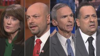 """Democratic candidates for Illinois' 3rd Congressional District, from left: Marie Newman, Rush Darwish, incumbent Dan Lipinski and Charles Hughes appear on a """"Chicago Tonight"""" candidate forum. (WTTW News)"""