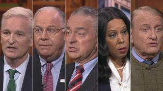 """Republican candidates for Senate, from left: Mark Curran, Tom Tarter, Casey Chlebek, Peggy Hubbard and Robert Marshall appear on a """"Chicago Tonight"""" candidate forum. (WTTW News)"""