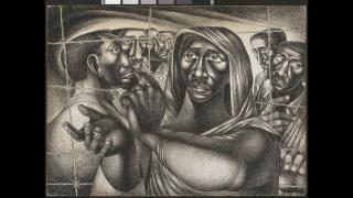 """Charles White. """"Trenton Six,"""" 1949. Amon Carter Museum of American Art, Fort Worth, TX. (© The Charles White Archives Inc.)"""