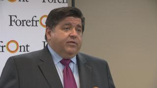 Gov. J.B. Pritzker answers questions about the Chicago casino – specifically, where he thinks it should be built – during a media appearance Tuesday, June 4, 2019. (WTTW News)