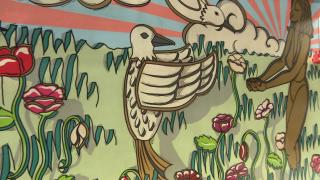 "A close-up look at the new mural ""The Radiance of Being"" along the Chicago Riverwalk. (WTTW News)"