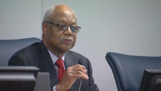 In this file photo, Board of Education President Frank Clark speaks during an August 2017 board meeting. (Chicago Tonight)