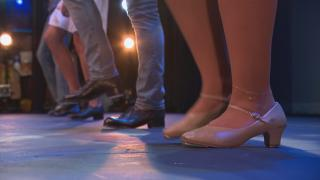 """Arts correspondent Angel Idowu joins dancers of Chicago Tap Theatre for a lesson during their rehearsal for """"30 Feet Together, 6 Feet Apart."""" (WTTW News)"""