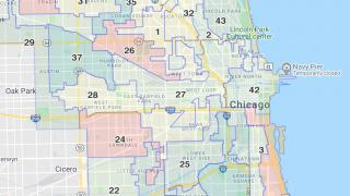 A new Chicago ward map will take effect in time for the 2023 municipal elections — assuming it is not blocked by a judge. (WTTW News via Google Maps)