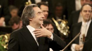 In this Jan. 1, 2018 file photo, Italian Maestro Riccardo Muti conducts the Vienna Philharmonic Orchestra during the traditional New Year's concert at the golden hall of Vienna's Musikverein, Austria. (AP Photo / Ronald Zak File)
