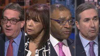 """Democratic candidates for Cook County Circuit Court Clerk, from left: Jacob Meister, Iris Martinez, Richard Boykin and Michael Cabonargi appear on a """"Chicago Tonight"""" candidate forum. (WTTW News)"""