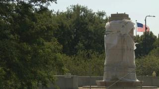 An empty pedestal in Grant Park in July 2020, where a statue of Christopher Columbus stood recently. (WTTW News)
