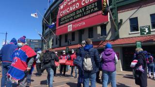 The Cubs home opener at Wrigley Field on Thursday, April 1, 2021. (WTTW News)