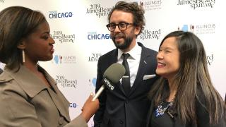 Brandis Friedman talks with James Beard Award winners Beverly Kim and Johnny Clark of Parachute on Monday, May 6, 2019 before the awards ceremony.
