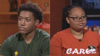 """Youth activists Trevon Bosley and Rie'Onna Holmon appear on """"Chicago Tonight"""" on July 5, 2018."""