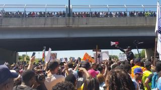 Protesters on the Dan Ryan Expressway on July 7, 2018. (Matt Masterson / Chicago Tonight)