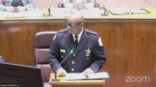 Chicago Police Superintendent David Brown addresses City Council in a special meeting, July 2, 2021. (WTTW News)