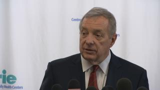Sen. Dick Durbin speaks at a press conference Monday, Feb. 10, 2020. (WTTW News)