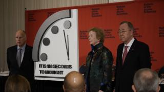 The Chicago-based Bulletin of the Atomic Scientists announced Thursday that the clock will now be set at 100 seconds to midnight. (Lexey Swall Photography / Bulletin of the Atomic Scientists)