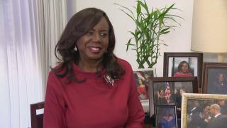 Cook County Circuit Court Clerk Dorothy Brown speaks with WTTW News on Wednesday, Aug. 14, 2019. (WTTW News)