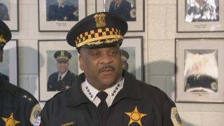 Chicago Police Department Superintendent Eddie Johnson speaks to the press on Monday, April 2, 2018. (Chicago Tonight)
