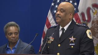Chicago Police Superintendent Eddie Johnson announces his retirement during a press conference at police headquarters on Thursday, Nov. 7, 2019. (WTTW News)