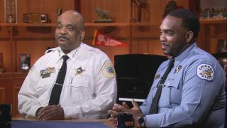 "Chicago Police Superintendent Eddie Johnson, left, and Chicago Police Officer Daniel Johnson appear on ""Chicago Tonight"" on Aug. 28, 2019."