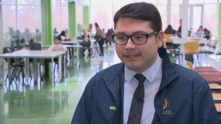Edwin Morales, a student at Cristo Rey St. Martin College Prep in Waukegan. (WTTW News)