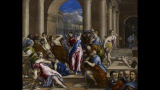 """El Greco (Domenikos Theotokopoulos). """"Christ Driving the Money Changers from the Temple,"""" about 1570. The Minneapolis Institute of Art, The William Hood Dunwoody Fund."""